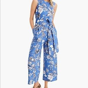 J Crew Linen wrap-back jumpsuit 4 blue